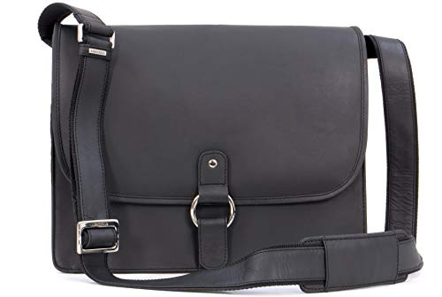 Visconti - Messenger Bag - Genuine Leather- Shoulder/Laptop Compatible/Notebook/iPad/Business Briefcase/Office - 18797 - Gianni - Oil Black