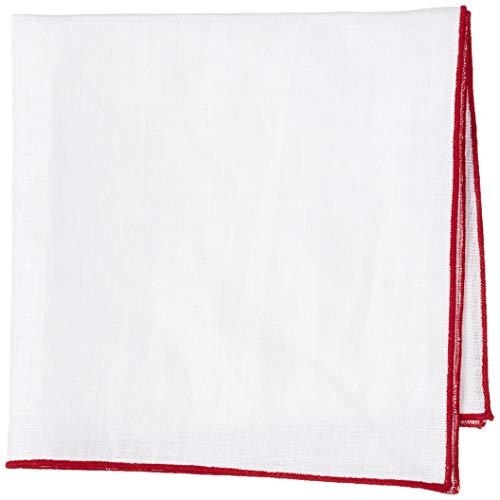 [ドレスコード101] 麻チーフ 日本製 ポケットチーフ (麻 100% 白) おしゃれな縁取り 3種類 メンズ 白 結婚式 ビジネス リネン チーフ CF-SLJ-RINEN 縁取りレッド 日本 正方形 32cm角 (FREE サイズ)