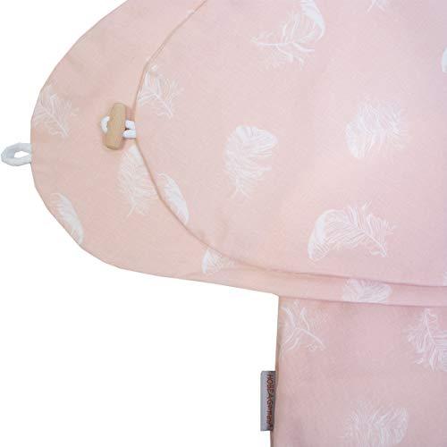 Stillkissenbezug für Stillkissen 190cm in verschiedenen Farben und Designs von HOBEA-Germany (Federn rosa)
