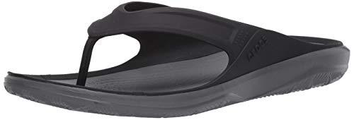 Crocs Men's Swiftwater Wave Flip Flop Casual Summer Sandal Beach and Shower Shoe, Black/Slate Grey, 11 M US