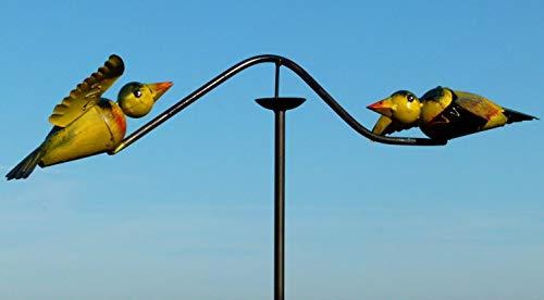 Pommerntraum | Windspiel - Gartenpendel - Gartenstecker - Gartendeko - Garten Kunst - Bunte verliebte Vögelchen - Windspiel Vögel