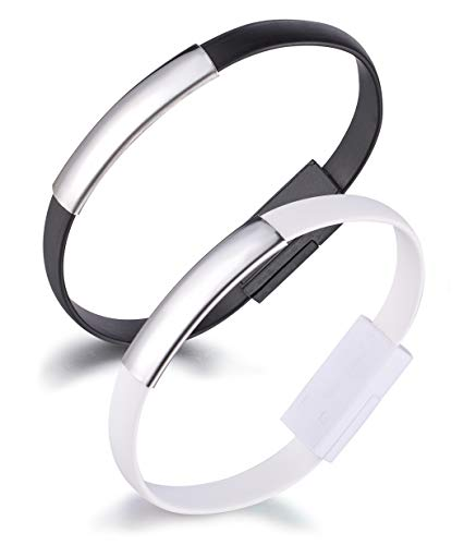 Yumilok Bracelet USB Data Cable Charging Cable Wristband Lightning Cable für iPhone 7, 7 Plus, 6, 6s, 6 Plus, 6s Plus, 5, 5s, 5c, SE, iPod und iPad, 2 Pack(Black, White)