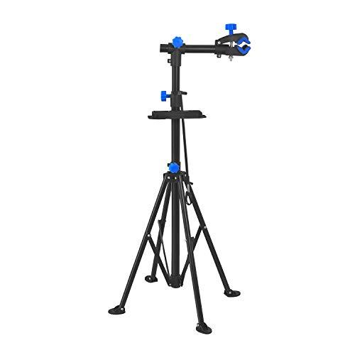 LZQ Fahrradmontageständer Profi Reparaturständer Fahrradständer, Höhenverstellbar Fahrradreparaturständer bis 50 kg Fahrrad Montageständer inkl. Werkzeugschale, 360° drehbar Mountainbike