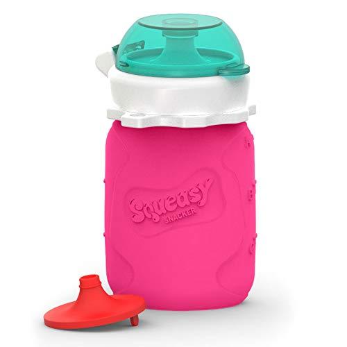 Squeasy Snacker, 100ml - Bolsa de Comida para Bebés Reutilizables | Para Batidos de Fruta Caseros, Yogurt y Zumos | Botella de Silicona, sin BPA (Pink)