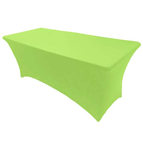 8' ft Spandex Fitted Stretch Tablecloth Rectangular Table Cover Wedding Banquet Party by GW Home (Lime, 8' ft)