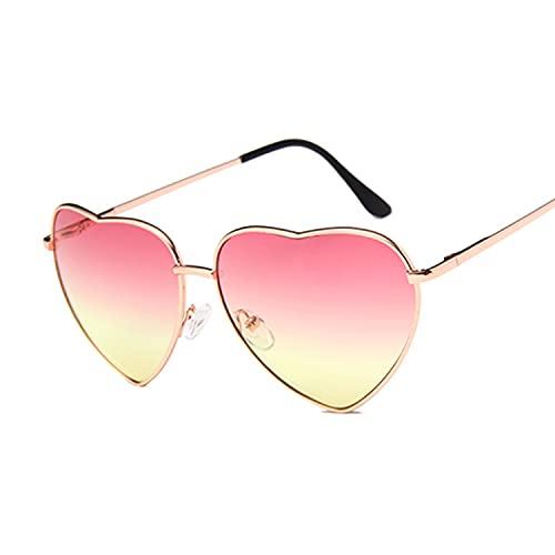 Ladies corazón en Forma de Gafas de Sol Mujeres diseñador de Moda Moda sin llanta Amor Claro Metal Océano Lentes de Sol Gafas de Sol UV400 (Lenses Color : Pink Yellow)