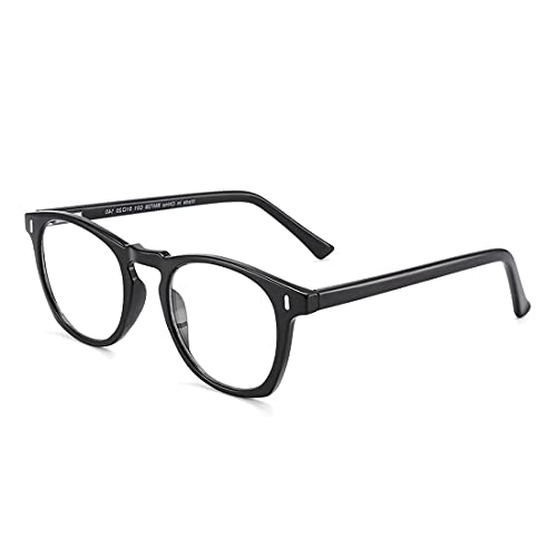 Óculos para Descanso HU WOOD Anti-fadiga Ocular Lente Transparente com Proteção UV400 Óculos para Computador Leitura Óculos de Luz azul (C2)