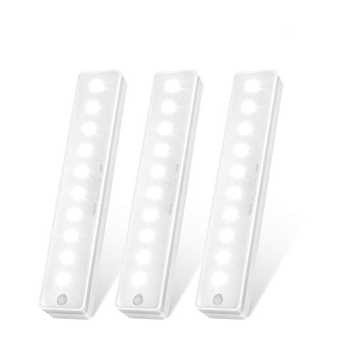 LED Motion Sensor Light, Upgraded Closet Light, Wireless Under Cabinet Lighting, Night Light for Stairs, Wardrobe, Kitchen, Hallway (3 Packs)