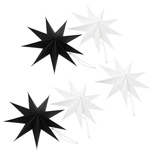 VOSAREA 5 Piezas Estrella de Papel Colgante Estrella Papel Estrella para Bodas Navidad Vacaciones Cumpleaños Fiesta Celebración Hogar Decoración