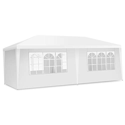 COSTWAY 3m x 6m buitentent met luifel,Barbecuetent voor zwaar gebruikmet 4 verwijderbare zijwanden en 2 deuren met ritssluiting, tuinhuisje met draagbaar met draagtas, wit