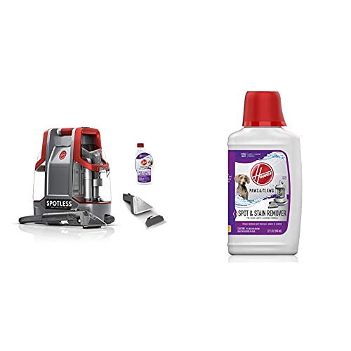 Hoover Spotless Portable Carpet & Upholstery Spot Cleaner Carpet Paws & Claws Premixed Spot Machine Cleaning Shampoo, Pet Stain Solution and Odor Remover