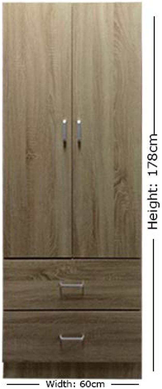 Lyon Schlafzimmerschrank mit 2 Türen, 2 Schubladen, 60 cm breit, Sonoma Eiche
