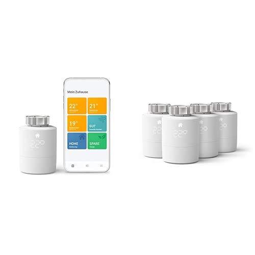 tado° Smartes Heizkörper-Thermostat Starter Kit V3+ - Intelligente Heizungssteuerung + Smartes Heizkörper-Thermostat (Universelle Anbringung) - Quattro Pack, Zusatzprodukte für Einzelraumsteuerung