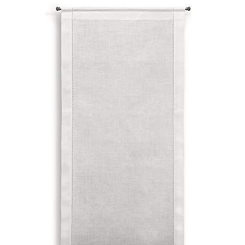 Cuore di lino - Tenda a Vetro in Puro Lino 100% Ajour Bianco Panna (45X240cm)