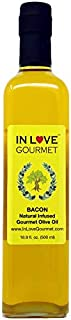 In Love Gourmet Bacon Natural Flavor Infused Olive Oil 500ml-16.9oz Best Bacon Oil Choice for Meats, Veggies, Popcorn & Breads