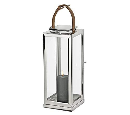 Edzard Lanterna Wellington in Acciaio pregiato Altamente lucidato, Altezza 45 cm, Torcia a Vento con Manico in Pelle