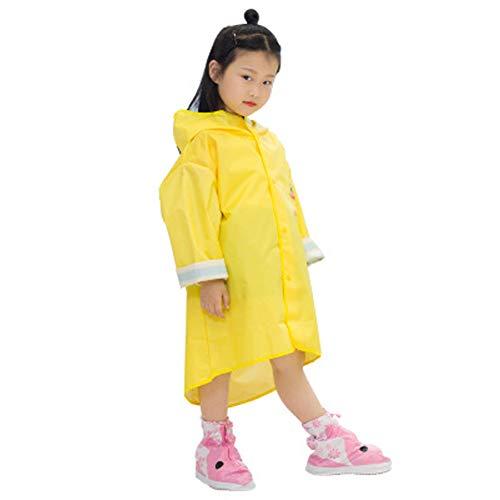 Regenmantel Poncho Regenbekleidung wiederverwendbar,Kinder Cartoon Regenmantel verdickt Kindergarten modernen minimalistischen kleinen gelben Ente Regenmantel-Yellow-S