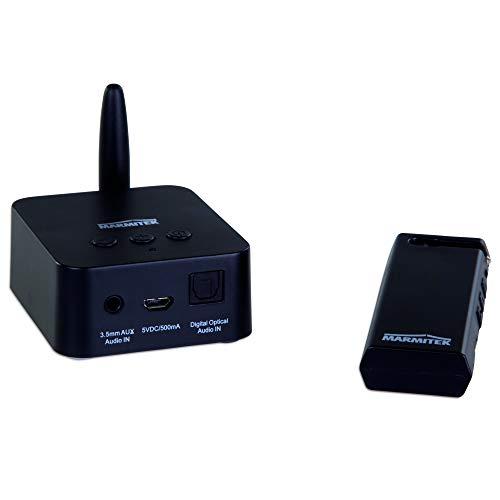 Marmitek Audio-Transmitter (digital, kabellos, Stereo, Toslink-Eingang, Lautstärkeregler, Stockschirm, 61 cm, Schwarz