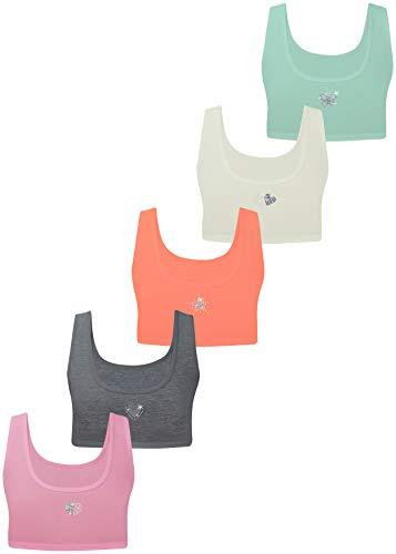 LOREZA ® Sujetadores para Chicas - algodón - Strass/Spangle/Correas Finas - Deporte - Paquete de 5