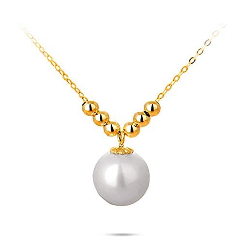 Oro 18k Collar De Moda con Colgante De Perlas Y Perlas, Joyería De Moda para Mujeres Y Niñas