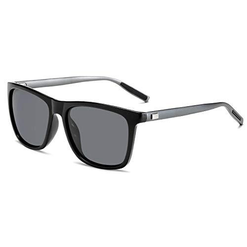 XXBFDT UV400 Protección Gafas de Sol Polarizadas - Señora masculina polarizadas coloridas gafas de sol-Película gris marco de armas