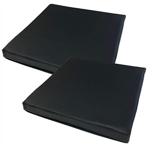 金鵄 kinshi 低反発リビング まとめ買い 50x50x5cm コラム 合皮 拭くだけ 座布団 (BK, 2)