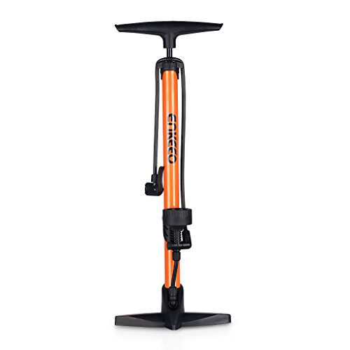 Enkeeo - Inflador Bomba de Aire de Pie con Manómetro (Max 160 PSI, adaptador de aguja y plástica válvula) Naranja