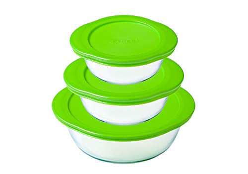 Pyrex Cook & Store Set of 3 Round Glass Food Storage Dishes with Lids (0.35L, 1.1L, 2.3L) - BPA Free