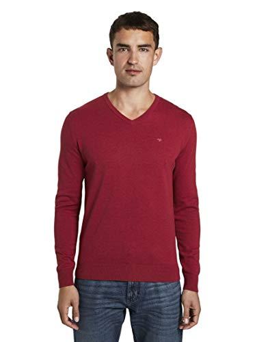 TOM TAILOR Herren Basic V-Neck Pullover Sweatshirt, 24249-spicy red Melange, XL