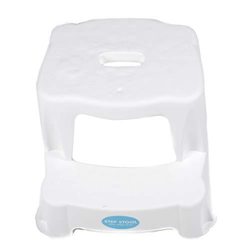 2 Tritt-Hocker für Kinder als Stehhilfe fürs Waschbecken und zum Sitzen, gummierte Füße, 2 Stufen, aufgeraute Stehfläche, Eingriff zum Tragen Tragkraft max. 45 kg (Weiß)