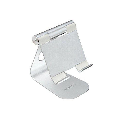 TERRATEC iTab M Silber, Smartphone & Tablet Multiwinkel-Ständer aus Aluminium, Für iPhone, iPad, Samsung Galaxy, Google Nexus und weitere, einstellbarer Betrachtungswinkel