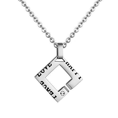 Epinki Titan Stahl 1 Pc Herren Halskette Hohl Quadrat Form mit Buchstaben CZ Anhänger Herrenkette Partner Anhänger Silber