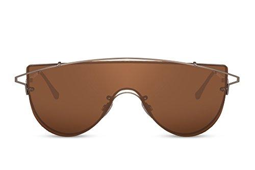 Cheapass Gafas de sol Grandes Modernas Gafas Marrones Montura Doradas Glasses For Chicos And Hombres. 100% Protección UV400