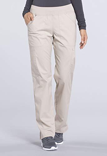 Cherokee Workwear Professionals Mid Rise Straight Leg Pull-on Cargo Scrub Pant, XL Petite, Khaki