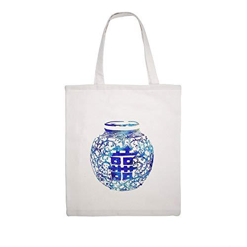 Katoenen canvas tas Ming vaas, dubbel geluk, blauw en wit China vaas, aquarel Ginger Jar Schouder boodschappentas boodschappentas
