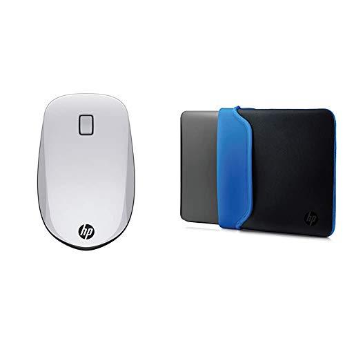 HP Z5000 Mouse con Connessione Bluetooth, Argento Nero & Custodia Sleeve Reversibile in Neoprene per Notebook fino a 15.6 , Nero Blu