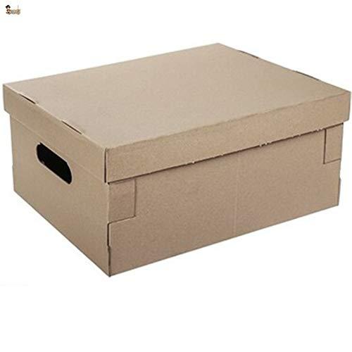 BricoLoco Lote 6 cajas cartón con tapa y asas. Almacenaje, zapatos, juguetes, mudanza, envíos. Multiusos. Automontable. Resistente. Medidas 45x35x20 cms.