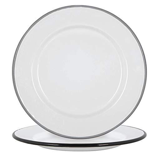 Argon Tableware White Enamel Side Plates - Steel Outdoor Camping Dinnerware Tableware - 20cm - Black/Grey - Pack of 4