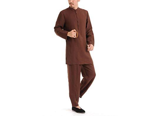 XMIMI Ropa de algodón de lino para hombres, ropa de yoga de meditación de estilo chino, ropa de Tai Chi, traje de meditación, chaqueta de manga larga Kung Fu, trajes, camisa, ropa de uniforme