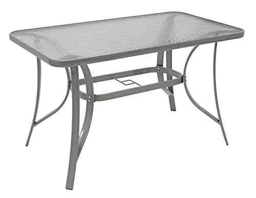 DEGAMO Gartentisch Florenz 70x120cm aus Metall + Glas, silberfarben