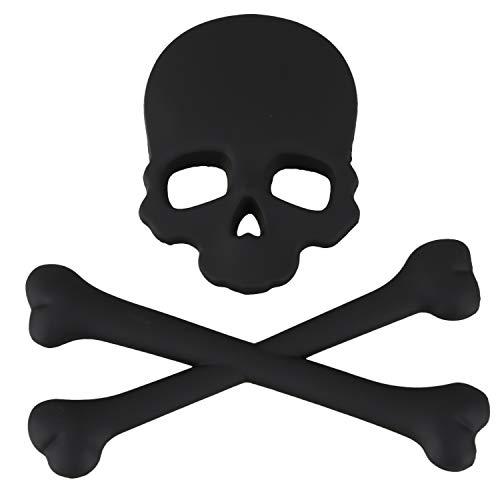 Ruellison Skull Bone Diseno 3D Motocicleta Coche Emblema Insignia Adhesivo Negro