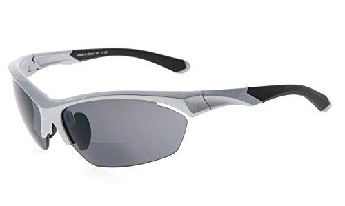 Eyekepper TR90 Sport Bifokale Sonnenbrille Baseball Laufen Angeln Fahren Golf Softball Wandern Halbrandlose Lesebrille (Perliges Silber, 2.00)