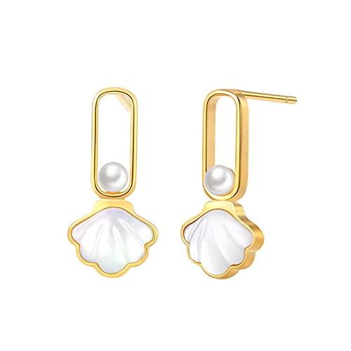 WPJ Pendientes de caída de Perlas para Mujeres niñas Hipoalergénico Stud Pendientes de Plata esterlina Pendientes Pendientes Joyería para Regalos