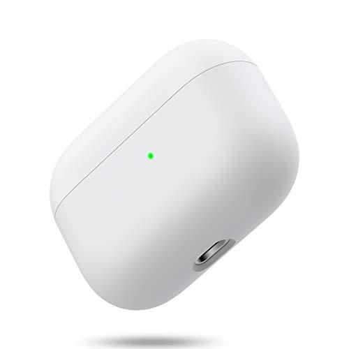 Silikon Hülle Kompatibel mit AirPods Pro, Front LED Sichtbar Hülle für AirPods 3, case für Airpods pro 2019, Zweiteilige Schutzhülle für AirPods Pro, unterstützt Kabelloses Laden(Reisweiß)