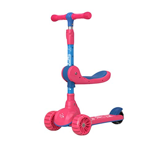 Dongxiao Scooter para Niños Edades 2-12 Diseño Liviano 4 Manillar Ajustable Scooter Scooter PU Flashing Wheels Boys Girls Regalos ( Color : Red )