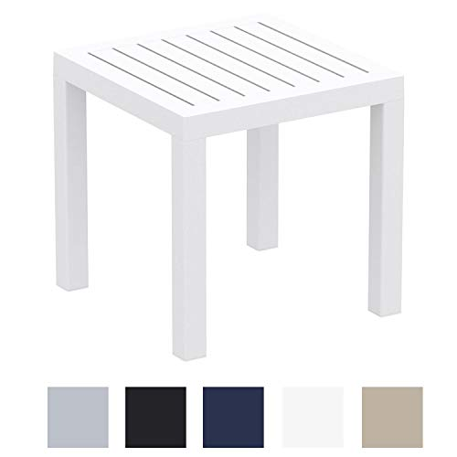 CLP Beistelltisch Ocean I Wetterfester Gartentisch aus UV-beständigem Kunststoff I witterungsbeständiger Tisch Weiß