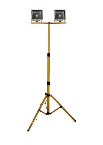 Telescopisch statief geel LED halogeen 80-180 cm standaard voor 1-2 schijnwerpers bouwlamp