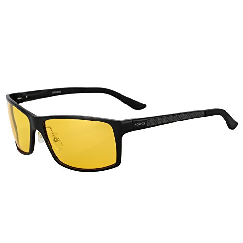 SOXICK Night Driving Glasses Anti Glare Polarized HD Night Vision Safe Glasses Light Al-Mg Frame Adjustable