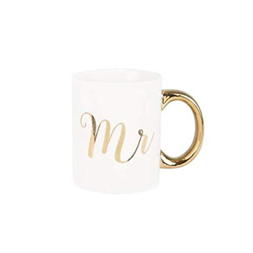 Sass & Belle Tassen-Set mit Aufschrift 'Mr & Mrs', goldfarben