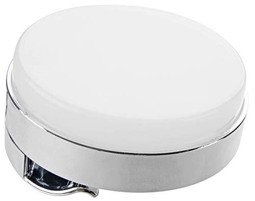 FACKELMANN LED-Klemmspot für Flachspiegel/Maße (Durchmesser): ca. 7,3 cm/inklusive Vorschaltgerät/runde LED-Leuchte für Spiegel/hochwertige Leuchte zum Aufklemmen für 3-4 mm Spiegelstärke
